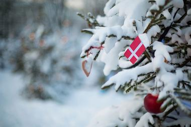 Winter in Dänemark Flagge